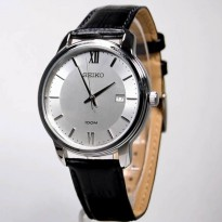 Seiko Quartz SUR201P1 Black Leather | Jam Tangan Pria SUR201
