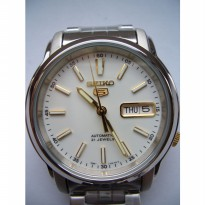 Seiko 5 SNKL77K1 Automatic Gold Tone On White Dial | Jam Pria SNKL77