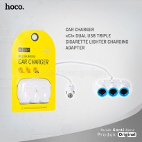 POP UP HOCO Car charger C1 dual USB triple cigarette lighter charging adapter
