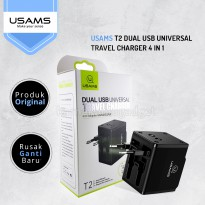 (POP UP) USAMS T2 Dual USB Universal Travel Charger 4 in 1 Hitam