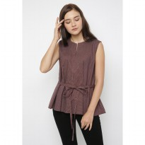 Mobile Power Ladies Striped Bow Tie Flare Blouse - Maroon JL211