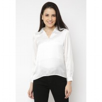 Mobile Power Ladies Saten V-neck Blouse - White JN211