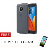 Case for Motorola Moto E4 Plus - 5.5 inch - Abu-abu + Gratis Tempered Glass - Ultra Thin Soft Case