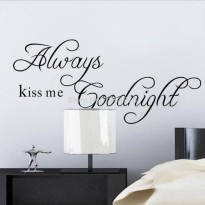 [globalbuy] Creative Always Kiss Me Goodnight Black DIY Removable Wall Stickers Living Roo/2888785