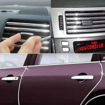 List Sticker Chrome Karet Dekorasi AC Mobil Air Vent Holder (KDA)