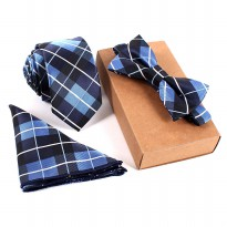 Set 3 in 1 Dasi Kupu-Kupu + Dasi Formal + Sapu Tangan Handkerchief - Blue