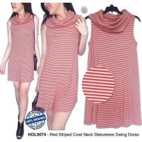 F992 Hollister Red Striped Cowl Neck Sleeveless Swing Dress ORIGINAL | BAZZF146