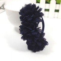 Karet Ikat Rambut Model Flower 1PCS - Navy Blue