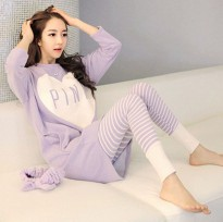 Piyama Wanita Long Sleeve Size M - Purple