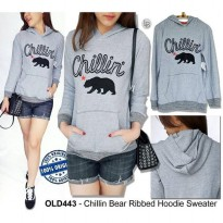F073 OldNavy Chillin Bear Ribbed Hoodie Sweater BRANDED ORIGINAL | BAZZF393