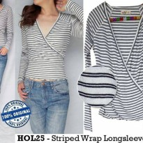 D906 Hollister Striped Wrap Longsleeve Top original branded | BAZZF586
