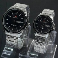JAM TANGAN COUPLE SWISS ARMY DATE DAY SILVER BLACK PREMIUM