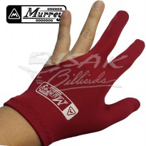 Murrey 3-finger Gloves, Pool Billiard - Lycra One Size Fits All Red