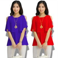 Jfashion Blus Chiffon tanpa Lengan Gaya Korea model Double Layer - Elisabeth