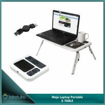 Meja Laptop Portable E-Table / Cooling Pad / Meja Lipat Notebook 2 Kipas Pendingin