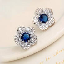 Blue Zircon and Rhinestone14k Gold Filled Flower Earrings