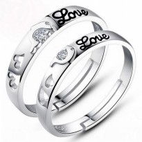 [1 + 1] Cincin Pasangan   Tie The Knot Dolphin Love Couple Rings for Female