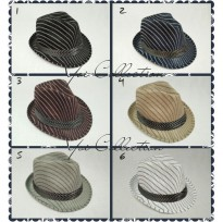 D & D Hat Collection Topi fedora Jazz / Tompi Dewasa Motif Salur / Topi Shanghai