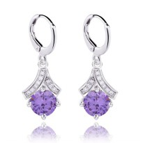 Anting Purple Lovely Dangling White Gold Filled