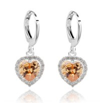 Anting Champagne Heart Shaped Dangling White Gold Filled