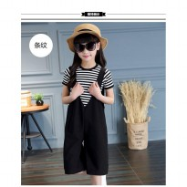 PO Girls Fashion Top Stripped Black & White with Pant 4-11th / 2pc set (TN17003)