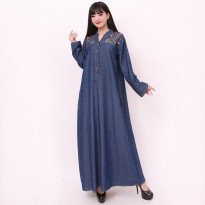 Cj collection Dress jeans maxi panjang wanita jumbo long dress Hilda