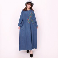 Cj collection Dress jeans maxi panjang wanita jumbo long dress Deana