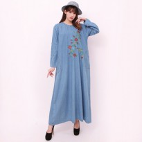 Cj collection Dress jeans maxi panjang wanita jumbo long dress Rosni