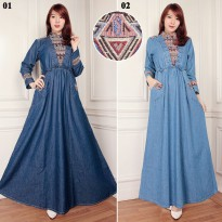 Cj collection Dress jeans maxi panjang wanita jumbo long dress Halwa
