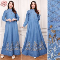 Cj collection Dress jeans maxi panjang wanita jumbo long dress Irana