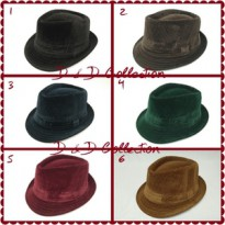 D & D Hat Collection Topi Fedora Import Bahan Motif Salur