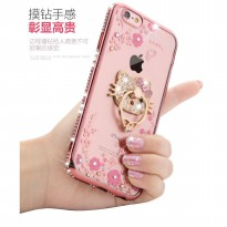 Case Flower Swarovski Diamond iRing iPhone 5 5s 6 6s 6Plus 7 Softcase