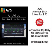 AVG Antivirus 2017 - 1 Year for 3 PC - Genuine