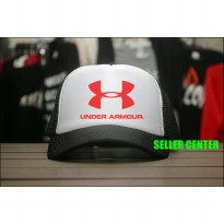 [JersiClothing] Topi Trucker Under Armour - Hitam Putih