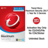 Trend Micro Maximum Security 2017 - 1 Year for 3 Devices - Genuine