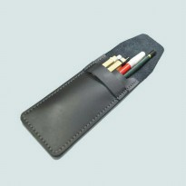 Tempat pensil kulit asli warna hitam | Pensil case | leather case