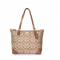 Tas Wanita Import Original Coach Zip Top Tote In Signature - Beige Brown