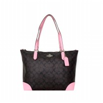 Tas Wanita Import Original Coach Zip Top Tote In Signature - Brown Pink