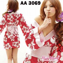 Sexy Costume Lingerie Murah Import AA 3069 Red Flowered (R73A)