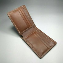 Dompet lipat kulit asli warna coklat | biffold wallet | leather wallet