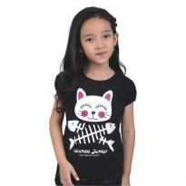 Catenzo Junior Kaos/ T-Shirt Anak Perempuan Black CPSx515 Cat & Fish