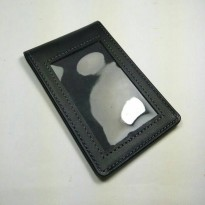 ID card holder kulit asli warna hitam model selip saku magnet