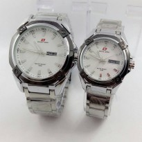 Swiss Army Jam Tangan Couple Rantai TERBARU (Silver White)