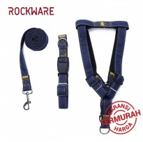 ROCKWARE Dog Leash Adjustable Harness Neck Collar Set Canvass Model Black