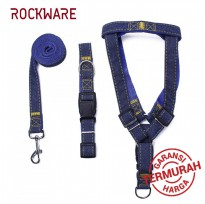 ROCKWARE Dog Leash Adjustable Harness Neck Collar Set Canvass Model Blue