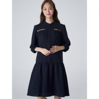 8seconds Cotton Lace Punching Henry-Neck Dress - Navy