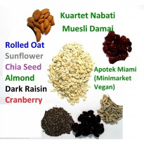 Kuartet Nabati Muesli Damai 1 Kg : rolled oat, sunflower, chia seed, almond, dark raisin, cranberry