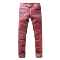 [globalbuy] 2016 New Men Nightclubs Coated wine red hore Jeans,Famous Brand Fashion Design/4202562
