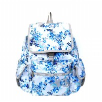Tas Backpack Import Authentic Lesportsac Voyager Backpack - Floral Blue