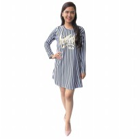 Mini Dress Stripe / Atasan Soft Cotton / Dress simple / Atasan Hijab Kode : 2067